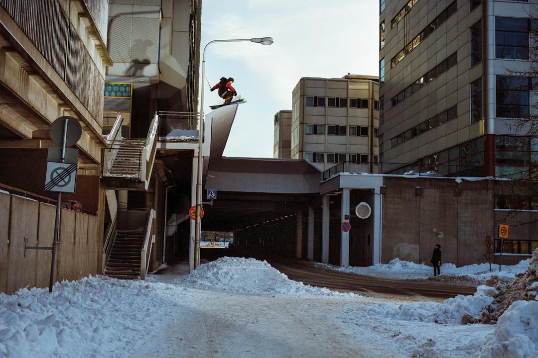 Tim McChesney skiing around Helsinki, Finland.