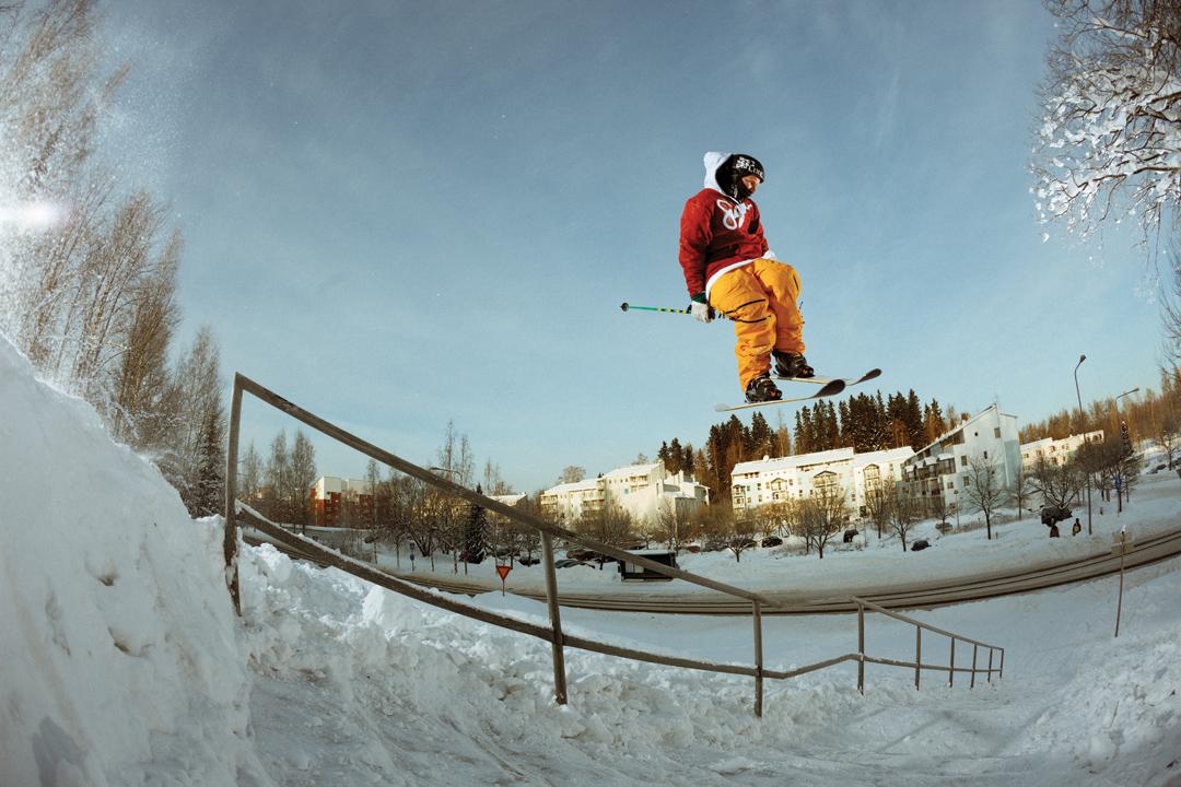 LJ Strenio skiing around Helsinki, Finland.