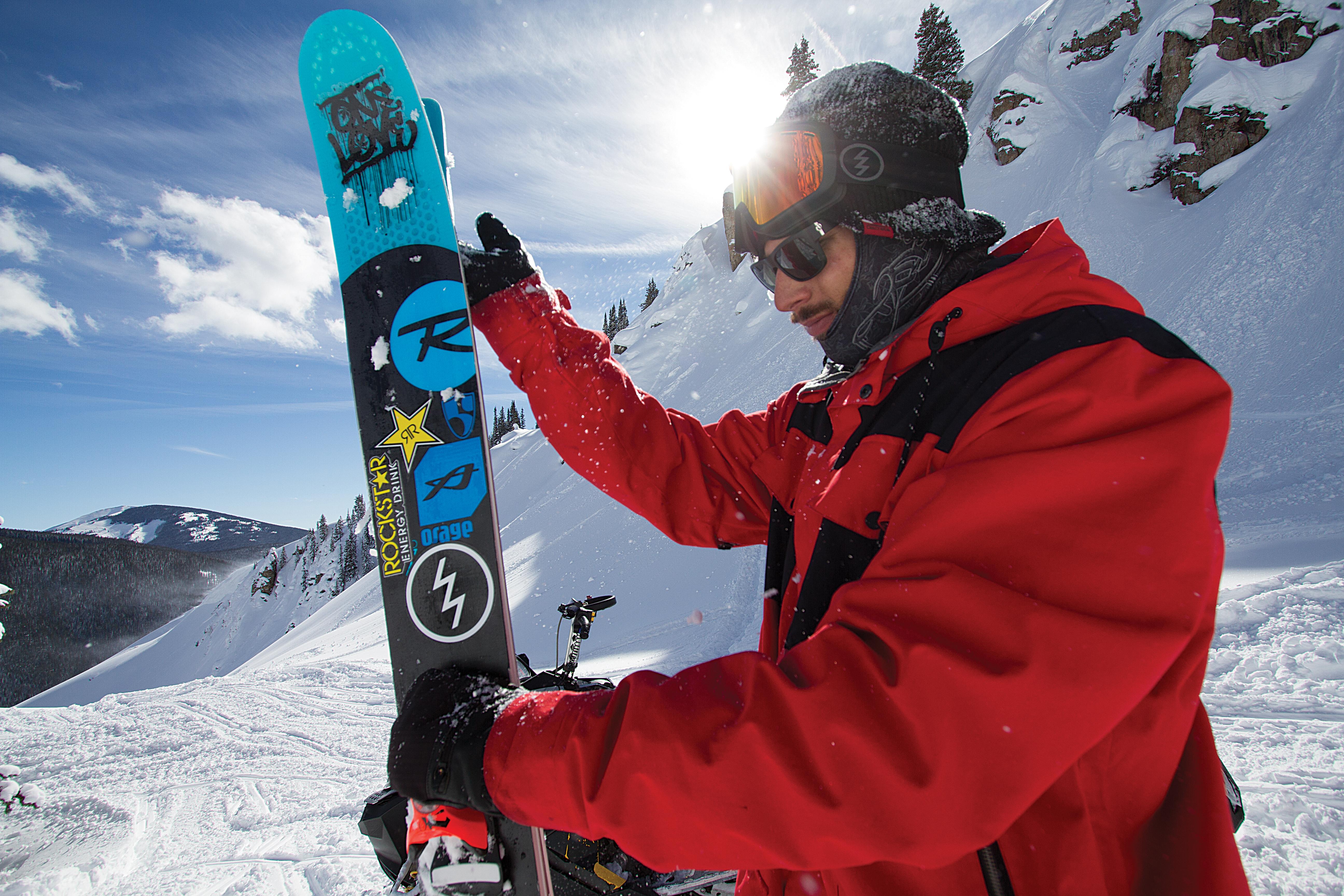 Chris Logan with his Rossignol Squad 7 skis