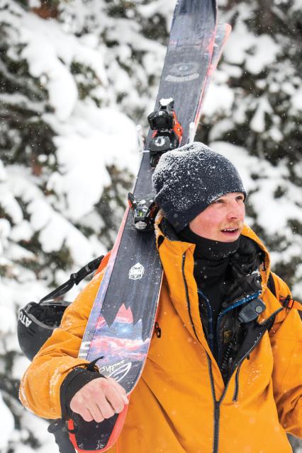 Pro skier Nick McNutt hiking in Jackson Hole, Wyoming