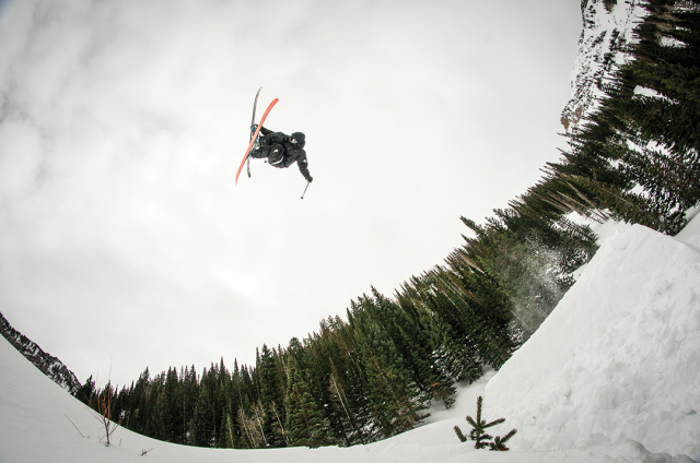 Pro skier John Ware with a cork 3 in British Columbia