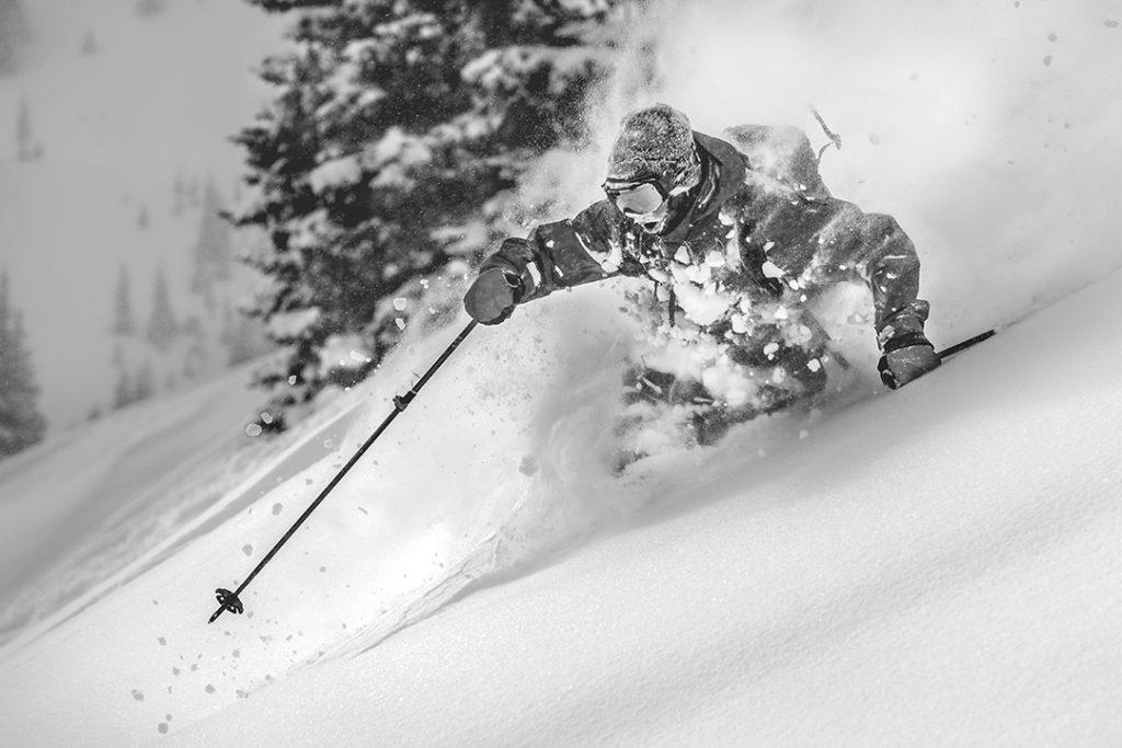 Austin Johnson skis East Vail Sidecountry