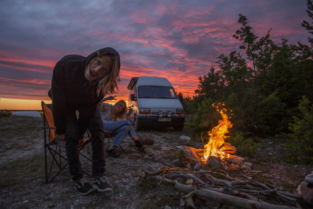 """""""Lighting a fire seemed like a good idea, until we discovered how dry everything around us was and realized that all of Sweden is under a fire ban during the hottest summer months. It made for a good photo, but we put it out shortly after."""""""