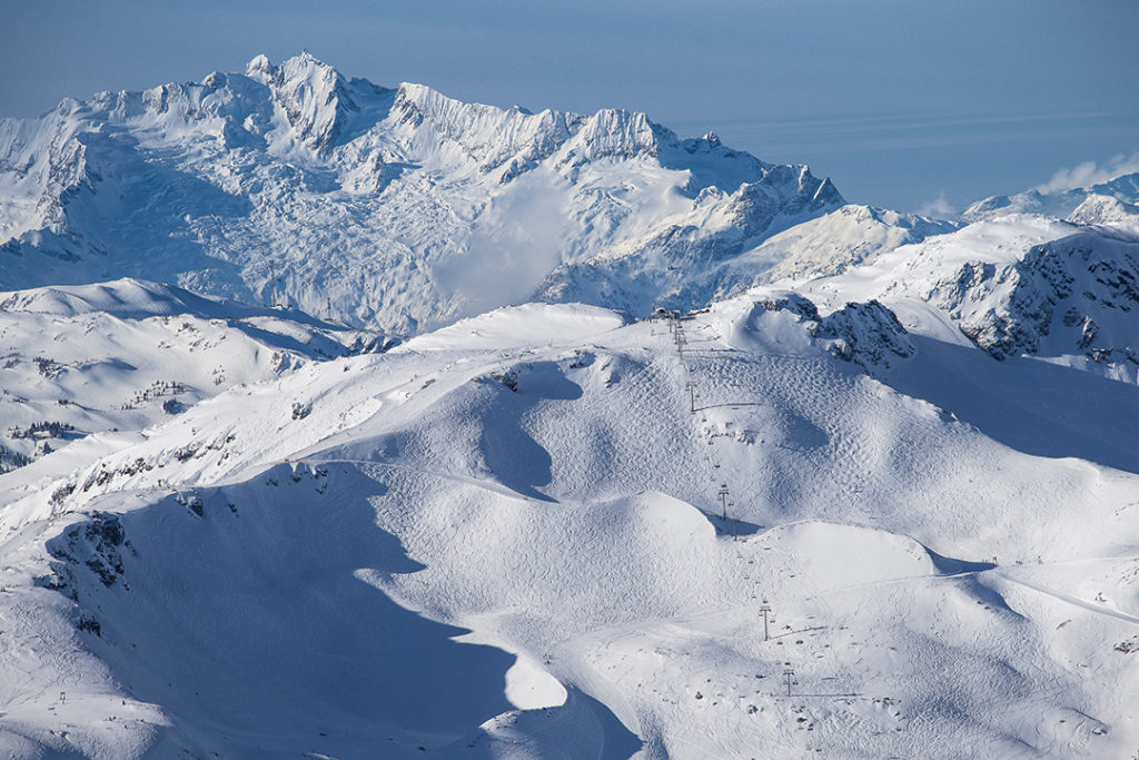 The new Harmony Six Chairlift central in the bowl that gives it it's name with the Tantalus Range in the background