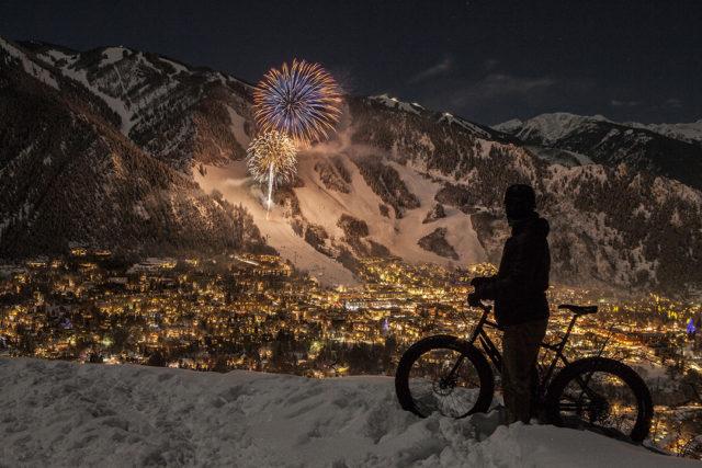 wwwMattpowerphotography.comNYE Fireworks over aspenSelf portrait