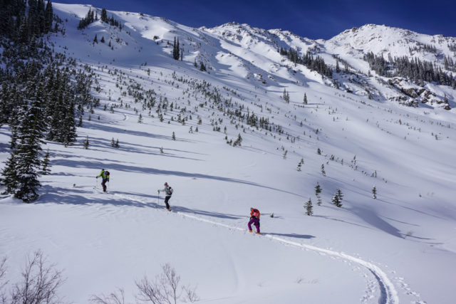 Davenport and Lynsey Dyer skinning in Silverton Colorado