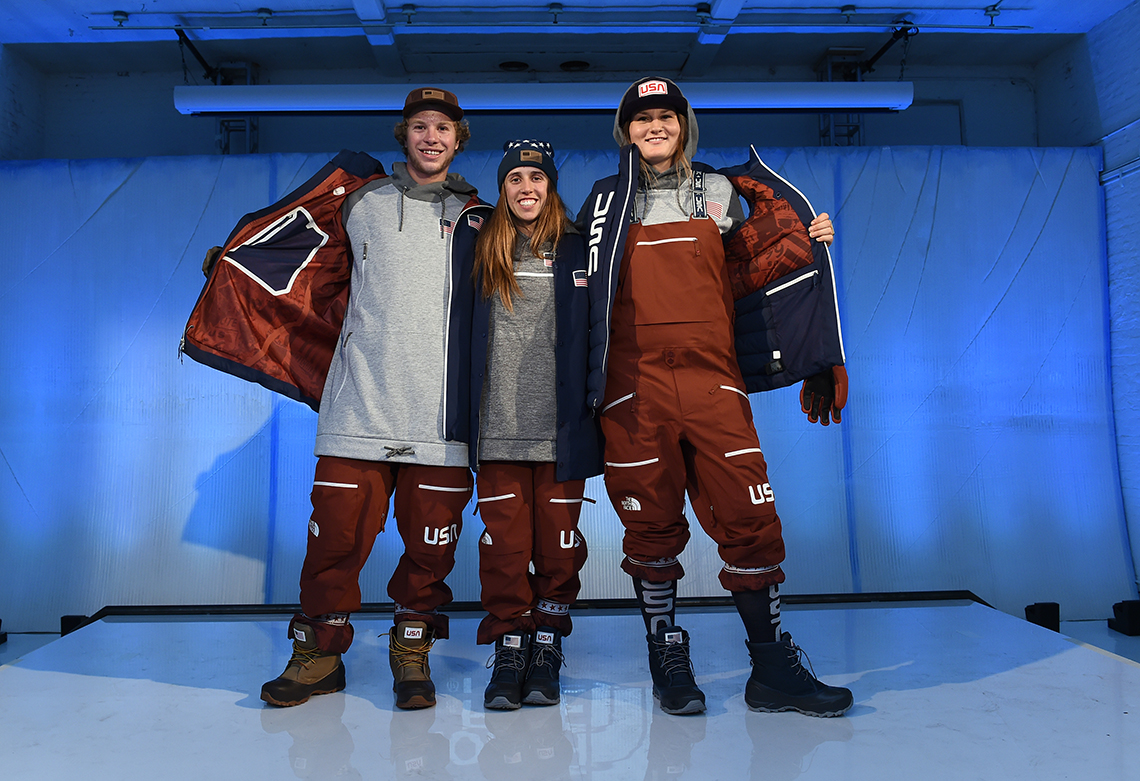 From left to right, Aaron Blunck, Maddie Bowman and Devin Logan show off the new Olympic apparel.