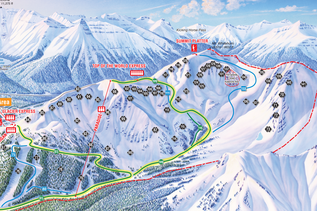 Ski Big 3 Trail Maps | FREESKIER Kicking Horse Ski Map on kicking horse skiing, red mountain ski map, banff ski map, lake louise ski map, kicking horse bike park, kicking horse summer,