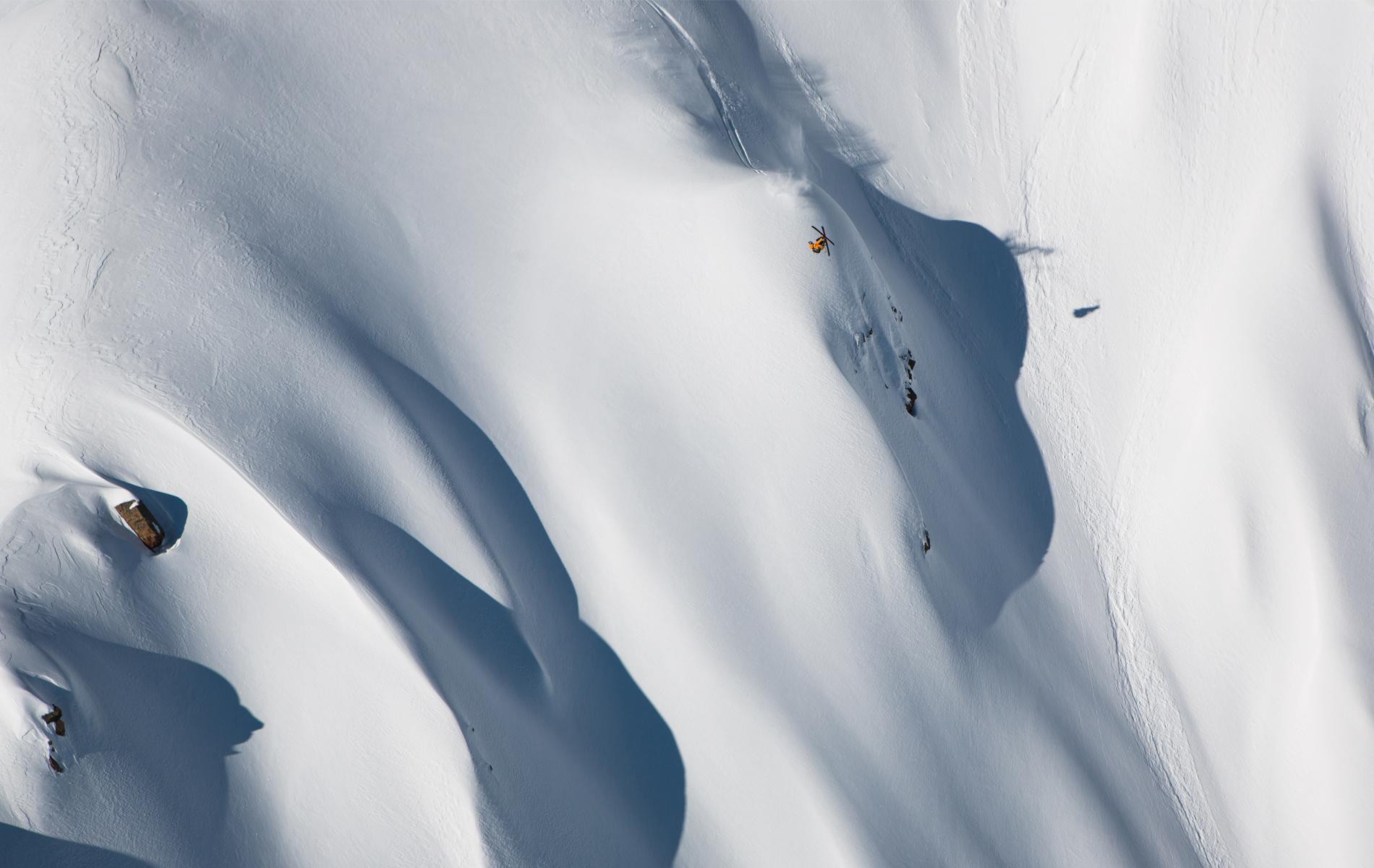 Athlete Sam Anthamatten gets inverted on his 1,300-foot descent of Mt. Ushba.