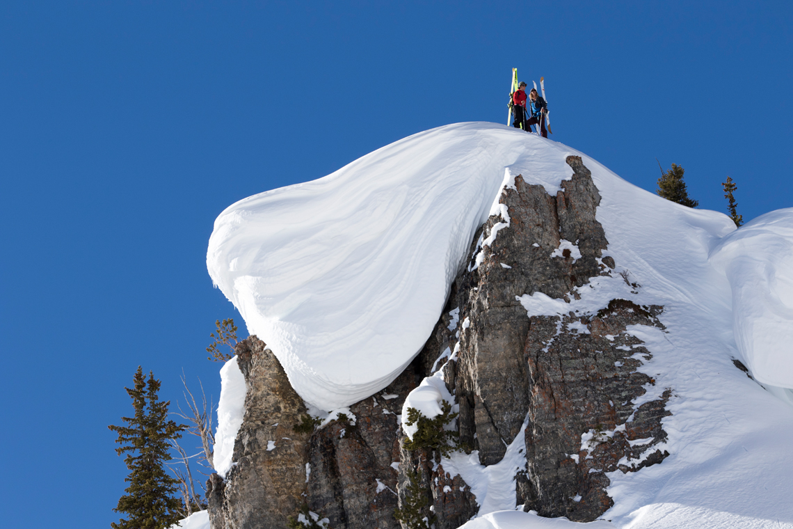 This Is Home athletes Johnny Collinson and Sam Anthamatten scope their lines in the Wasatch Range.
