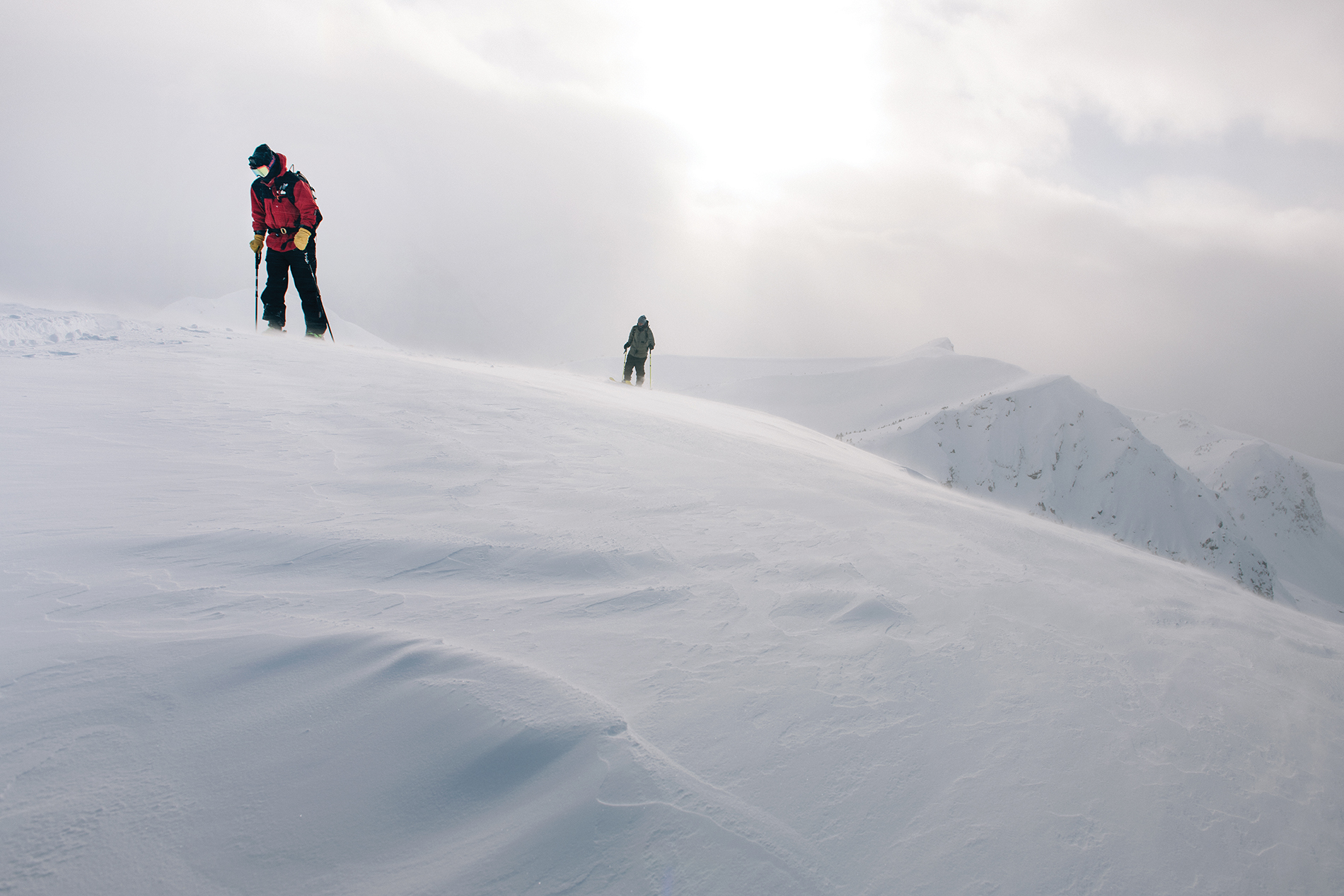 Duncan Adams and Antti Ollila ascending a classic ridgeline in the BC wilderness. Photo: Max Lowe