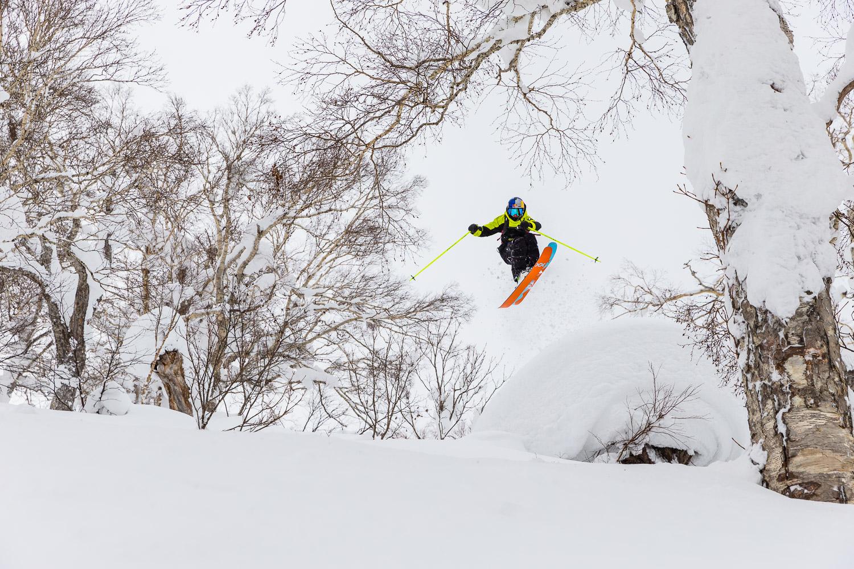 Paddy Graham skiing at Kiroro Resort.
