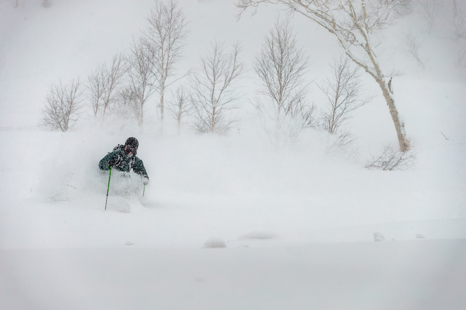 Tom Ritsch plundering pow with Shimamaki Snowcats.