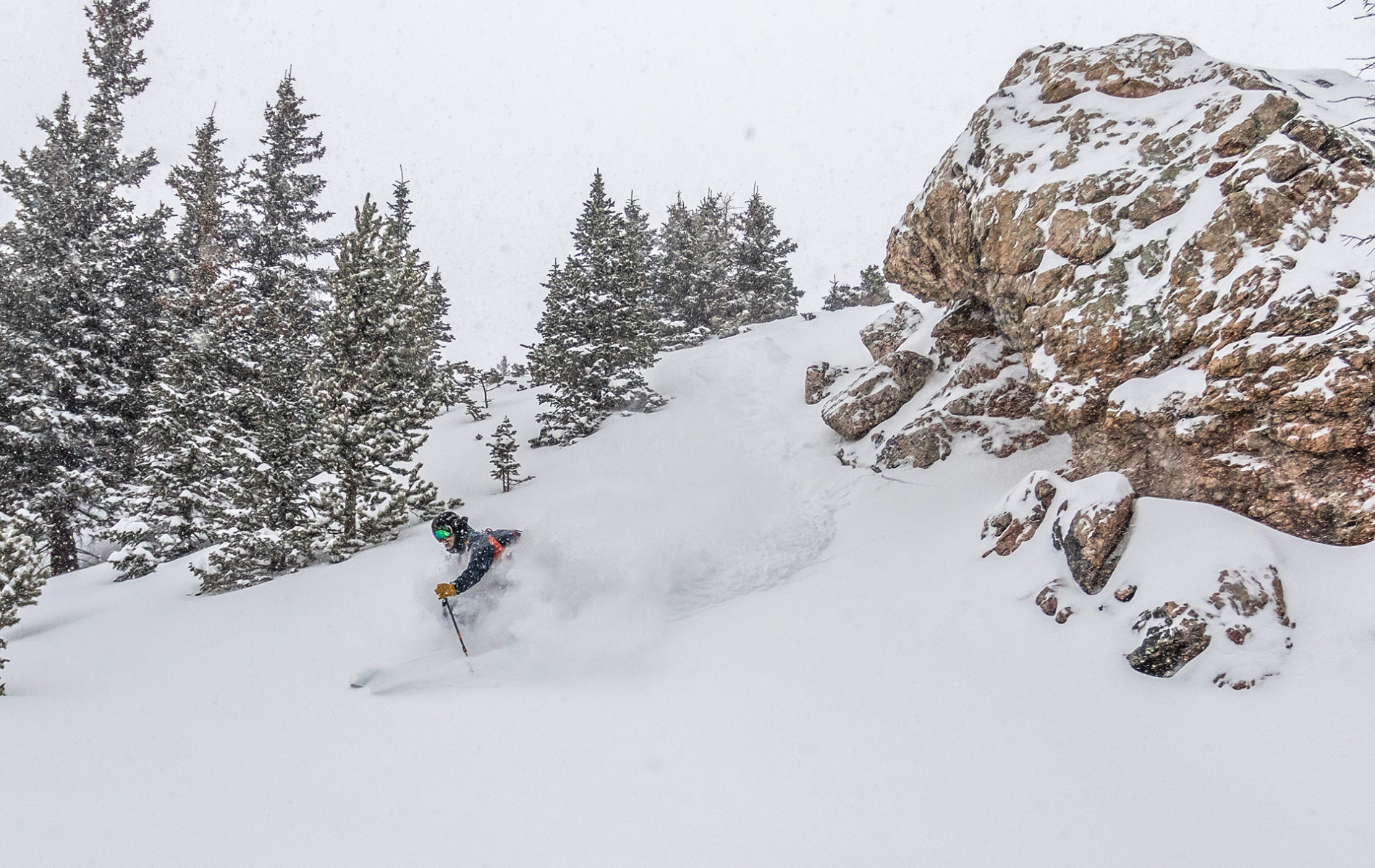FREESKIER Editor Donny O'Neill slithering through fresh pockets near treeline.
