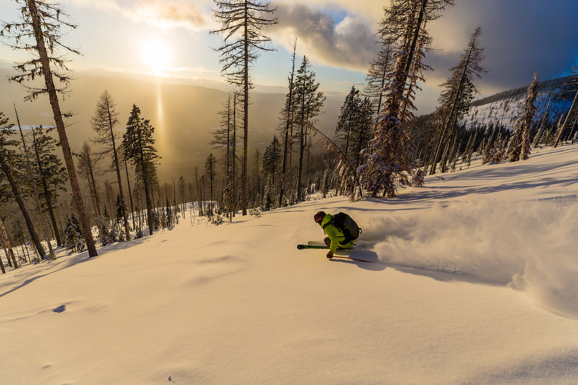 Kyle Taylor takes advantage of some beautiful light with Great Northern Powder Guides in Montana.