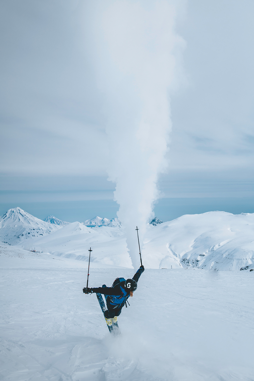 William Larsson puts on a show in front of a Kamchatka geyser.