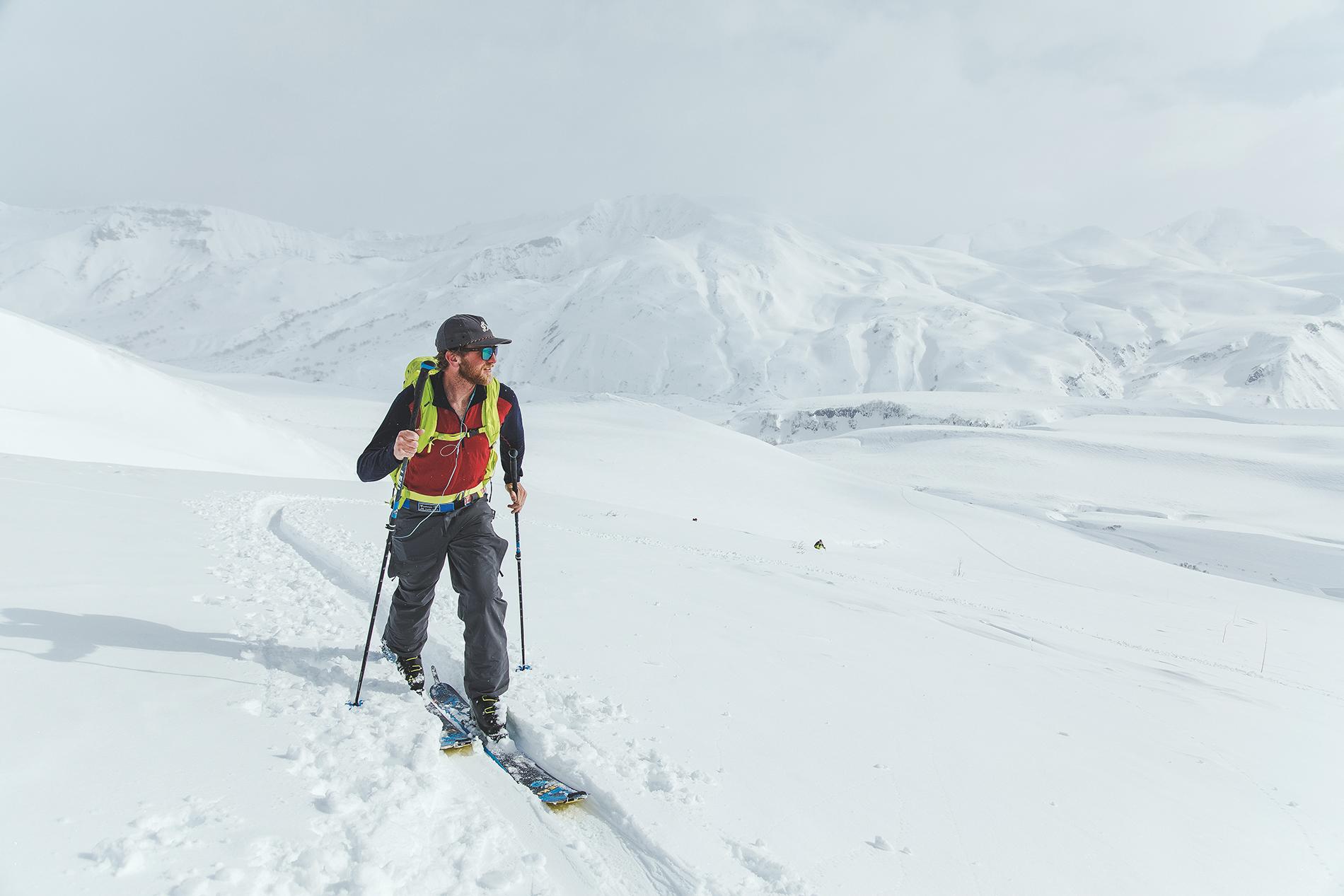 Kyle Smaine tours toward Vilyuchinsky Pass on the last day in Kamchatka. Photo: Matt Berkowitz