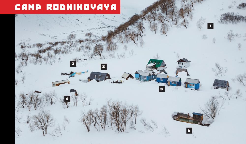 1. Skiing 2. Main Cabin 3. The Swedes' Quarters 4. Bathroom 5. Dormitories 6. Basseyn