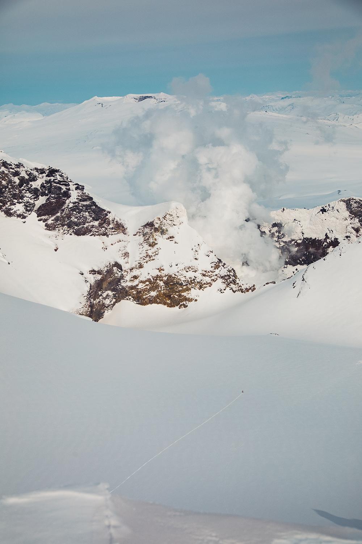 Our lone guide, skiing into Mutnovsky. Photo: Matt Berkowitz